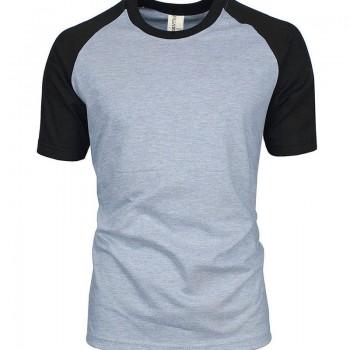 Áo phông đồng phục giá rẻ raglan xám phối đen