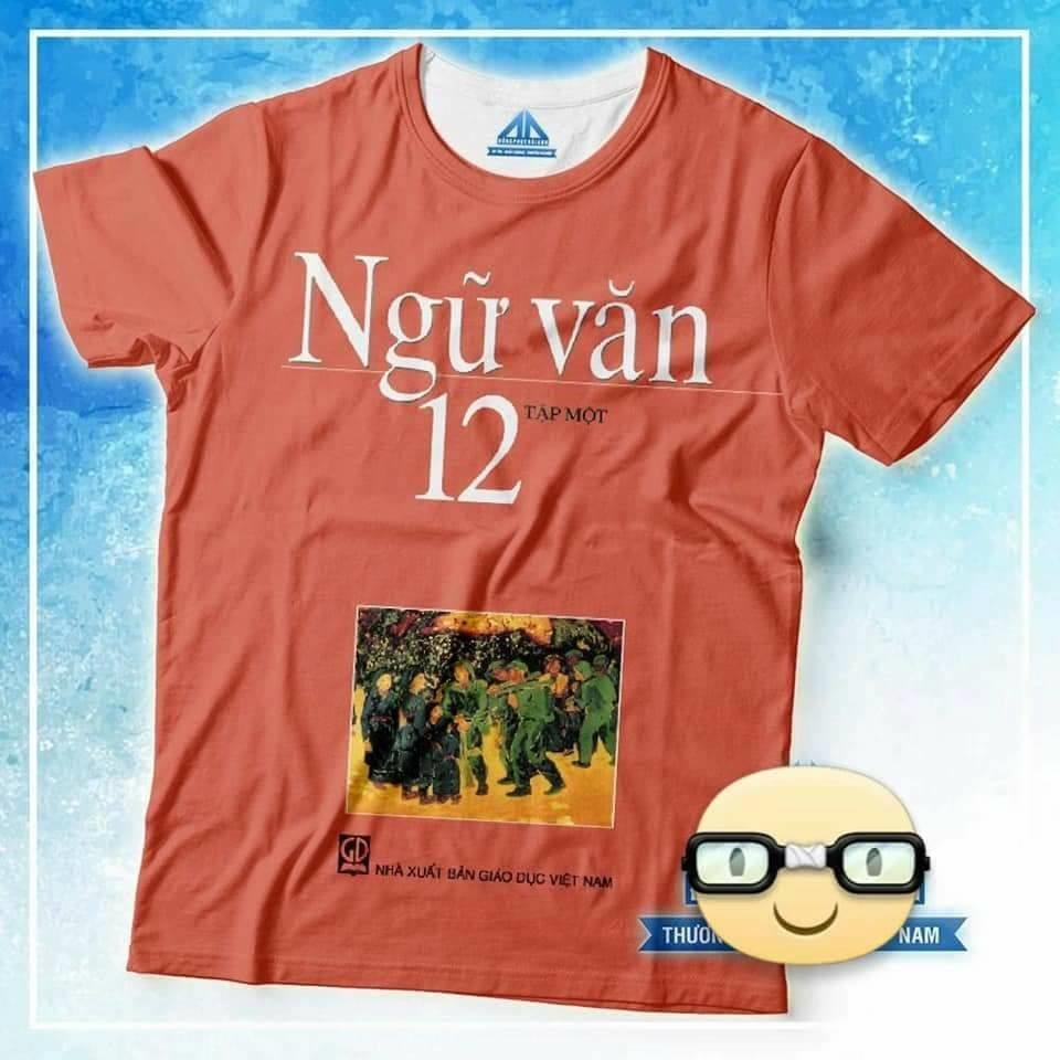 Đồng phục áo phông học sinh in hình bìa sách giáo khoa ngữ văn 12