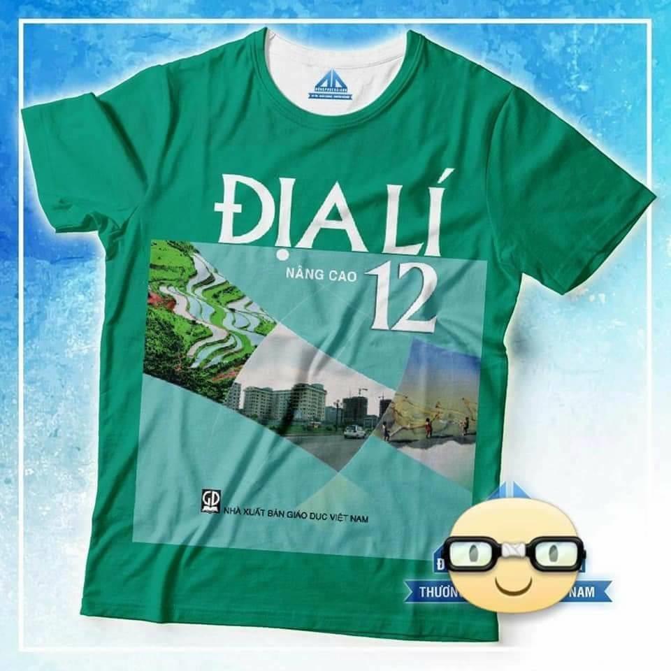 Đồng phục áo phông học sinh in hình bìa sách giáo khoa địa lý 12