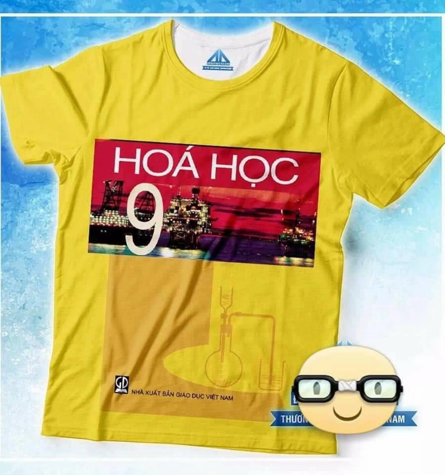 Áo phông đồng phục học sinh in hình bìa sách giáo khoa hóa học 9