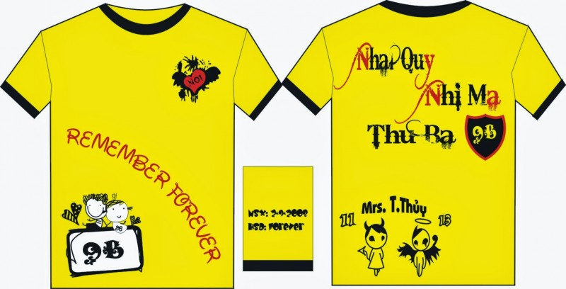 In - thêu logo, slogan lên áo phông đồng phục học sinh giá rẻ