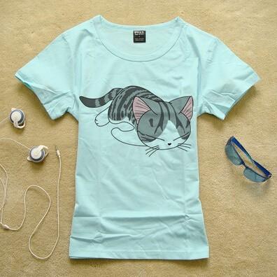 Hình in họa tiết con mèo trên áo phông siêu cute
