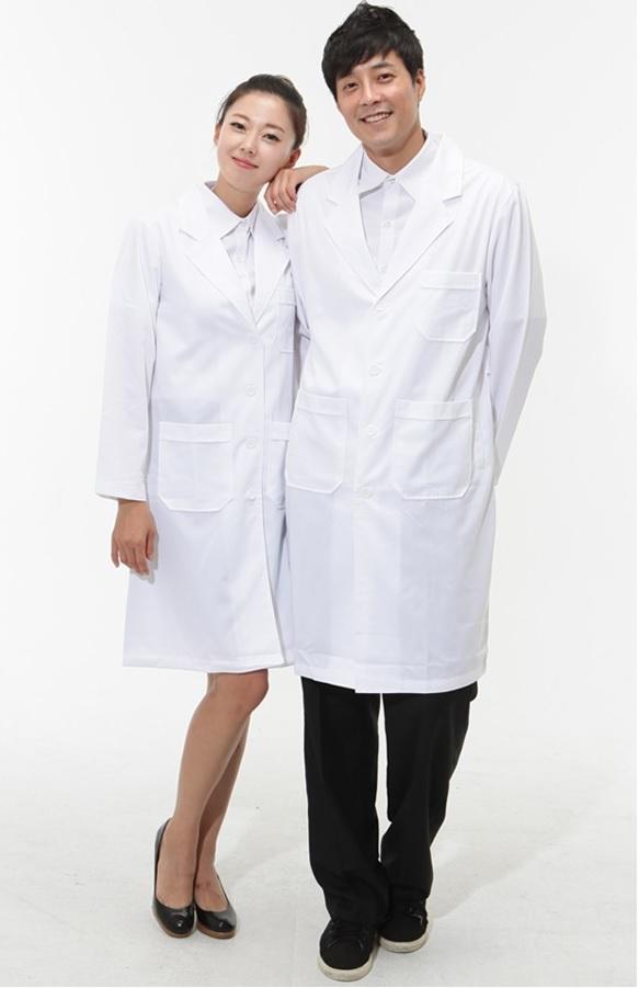 áo blouse trắng nam nữ dài tay cho bác sĩ