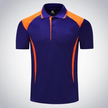 Mẫu áo phông đồng phục có cổ xanh phối cam