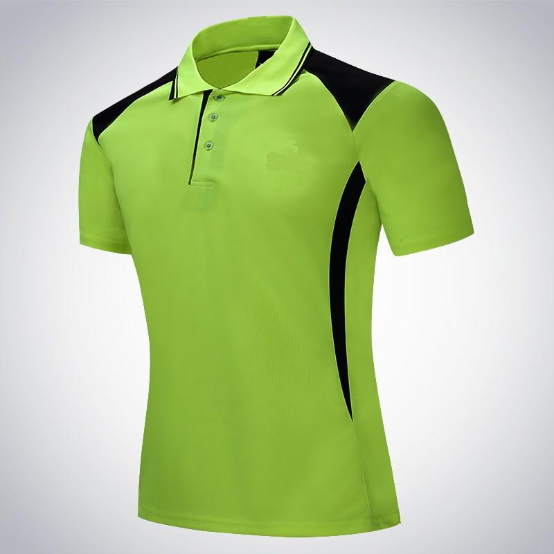 Mẫu áo phông đồng phục công sở xanh cốm phối đen