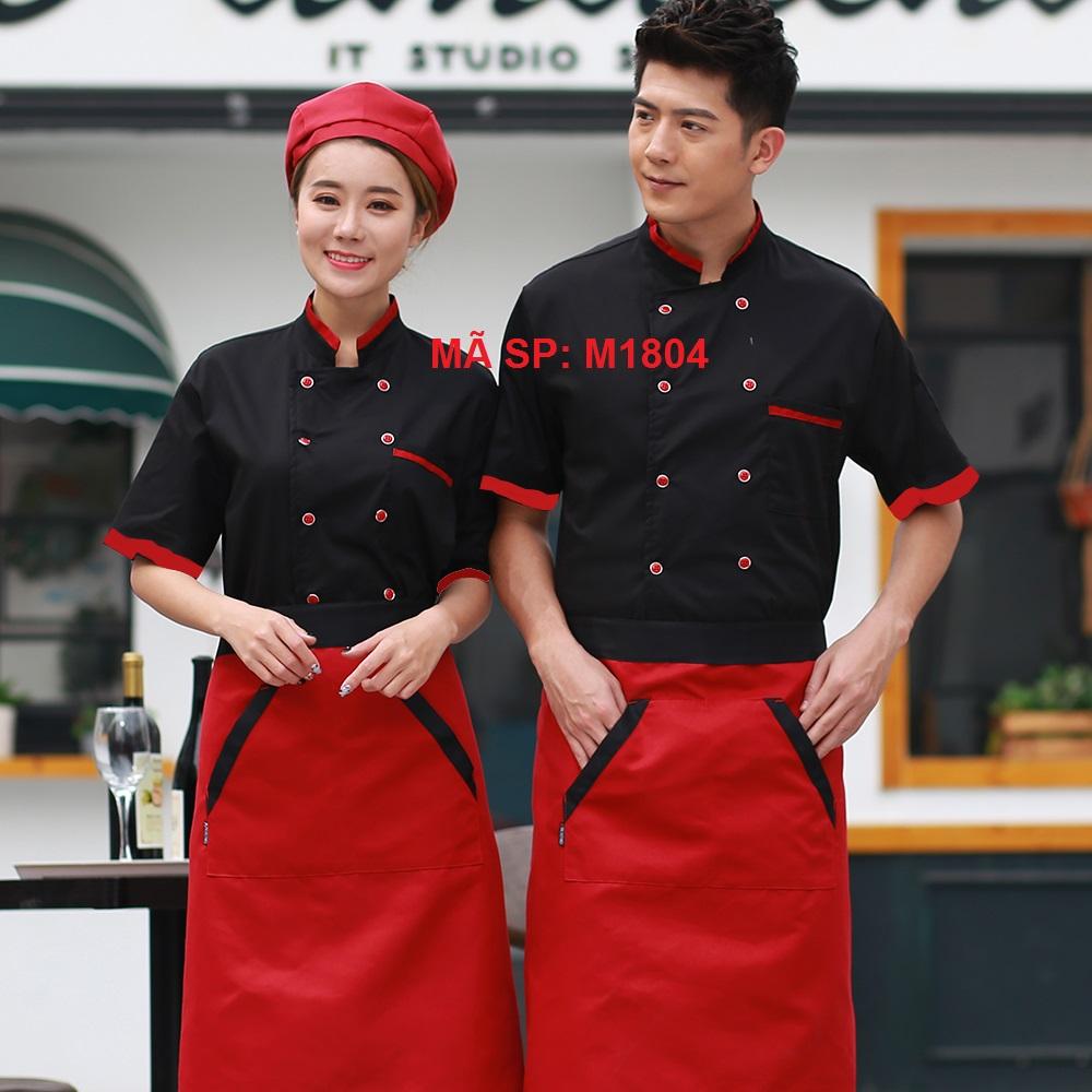 áo bếp bán sẵn đen phối đỏ đô