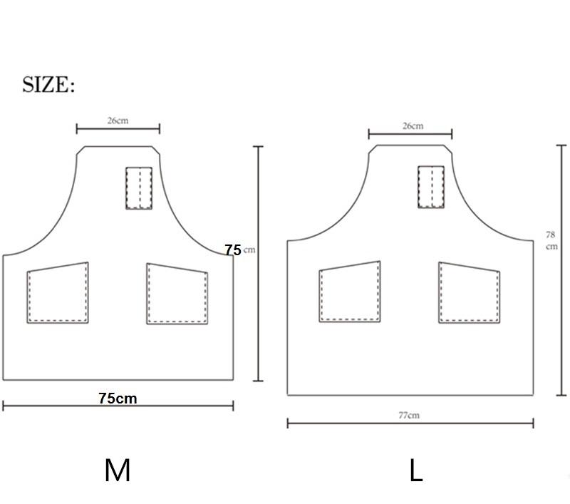 Thông số kích thước thành phẩm của mẫu tạp dề yếm mầu đen.