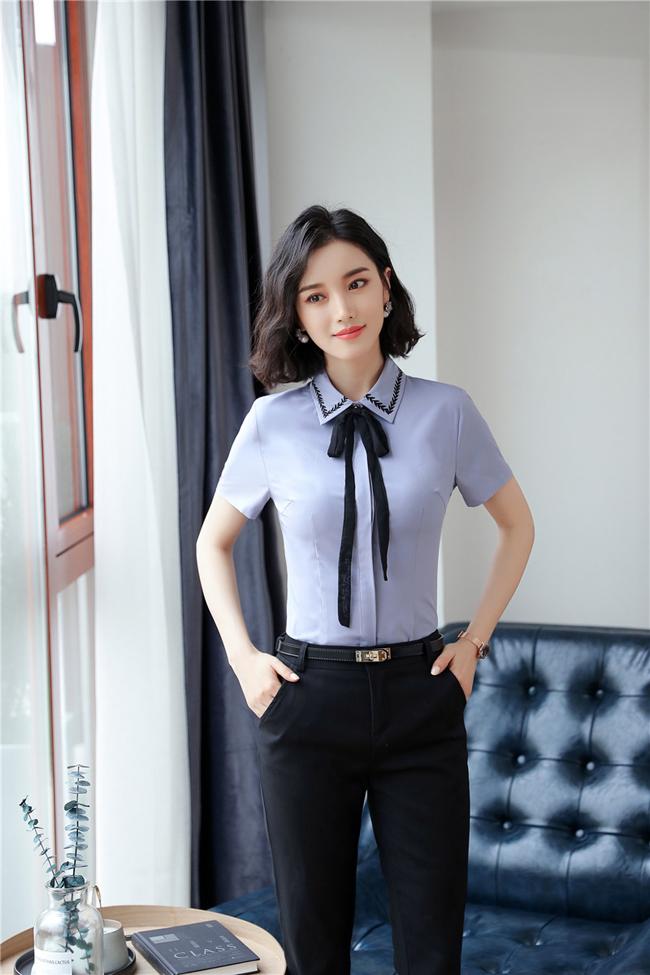 mẫu đồng phục sơ mi nữ công sở cộc tay xanh phối đen