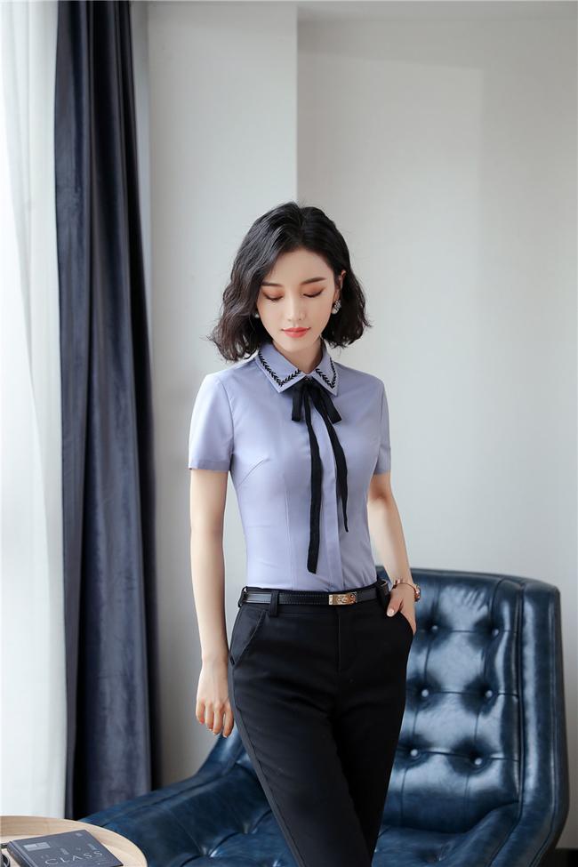 mẫu đồng phục sơ mi nữ công sở cộc tay xanh phối đen 2018