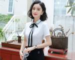 mẫu đồng phục sơ mi nữ công sở trắng phối đen đẹp