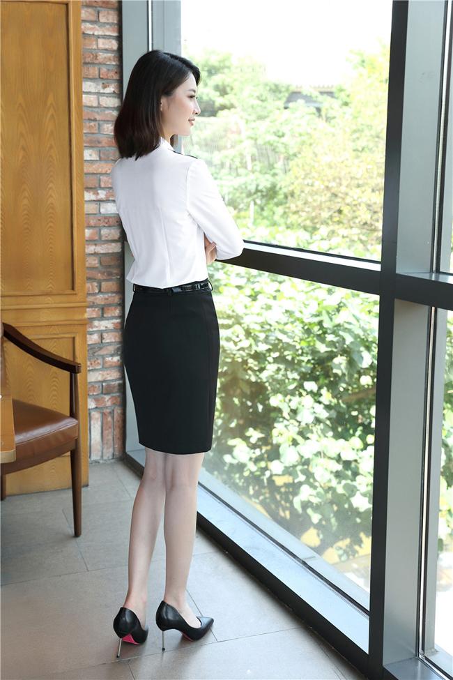 mẫu đồng phục sơ mi nữ công sở dài tay trắng phối đen đẹp, giẻ