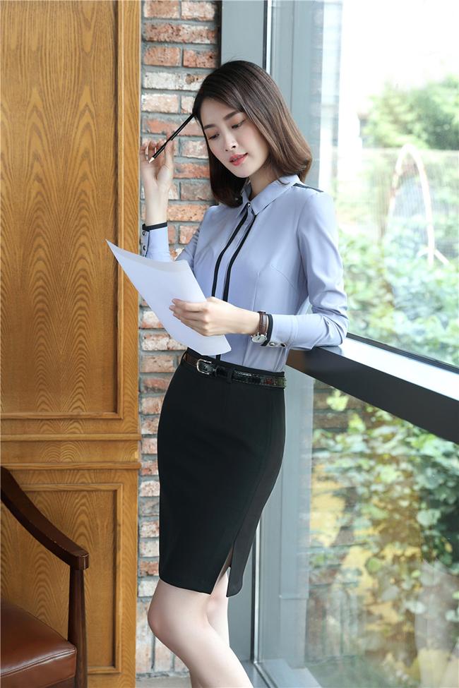mẫu đồng phục sơ mi nữ công sở dài tay xanh phối đen đẹp3