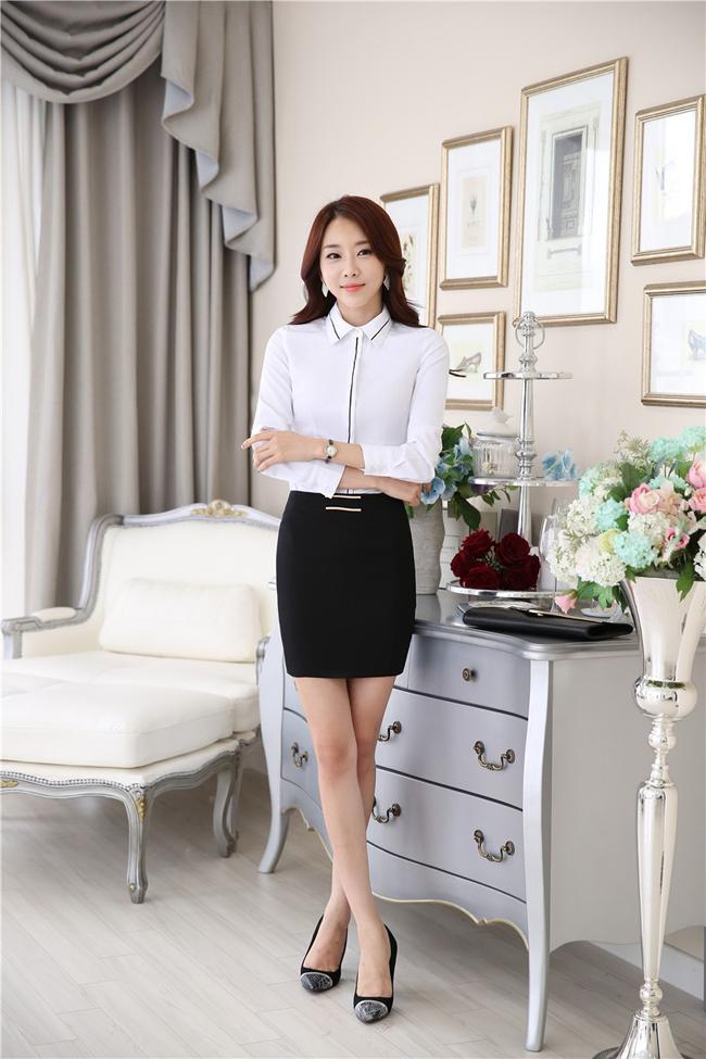 mẫu đồng phục sơ mi nữ công sở dài tay trắng phối đen đẹp tại hà nội