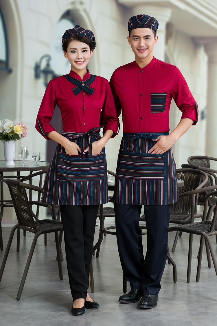 đồng phục nhân viên phục vụ khách sạn mầu đỏ đô nam nữ
