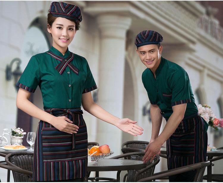đồng phục nhân viên phục vụ quán cà phên mầu xanh két