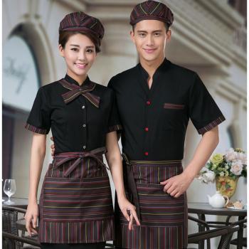 đồng phục nhân viên phục vụ bàn cổ tầu mầu đen.