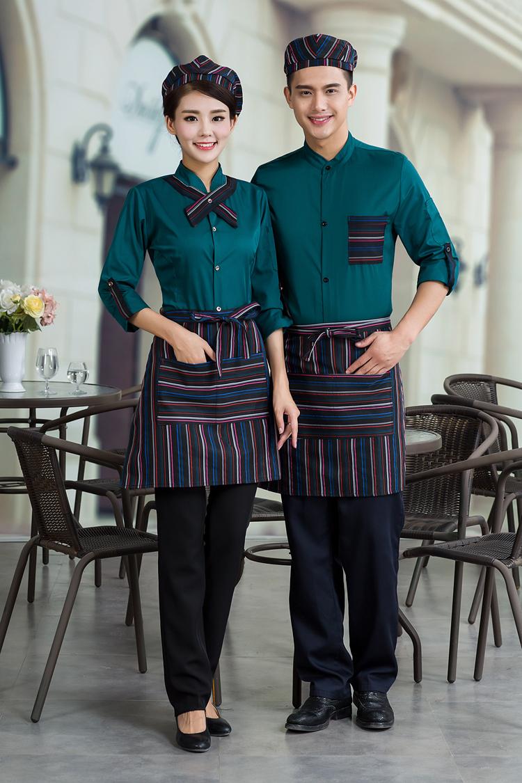 đồng phục nhân viên nhà hàng mầu xanh cho nam nữ