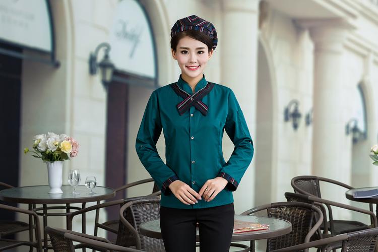 đồng phục nhân viên nhà hàng mầu xanh cho nữ