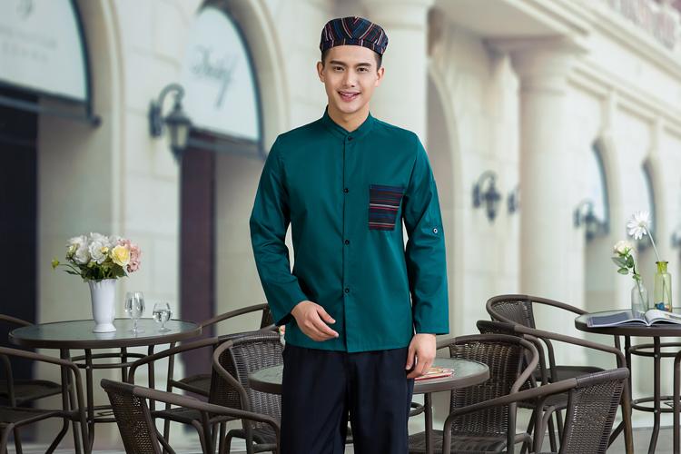 đồng phục nhân viên nhà hàng mầu xanh