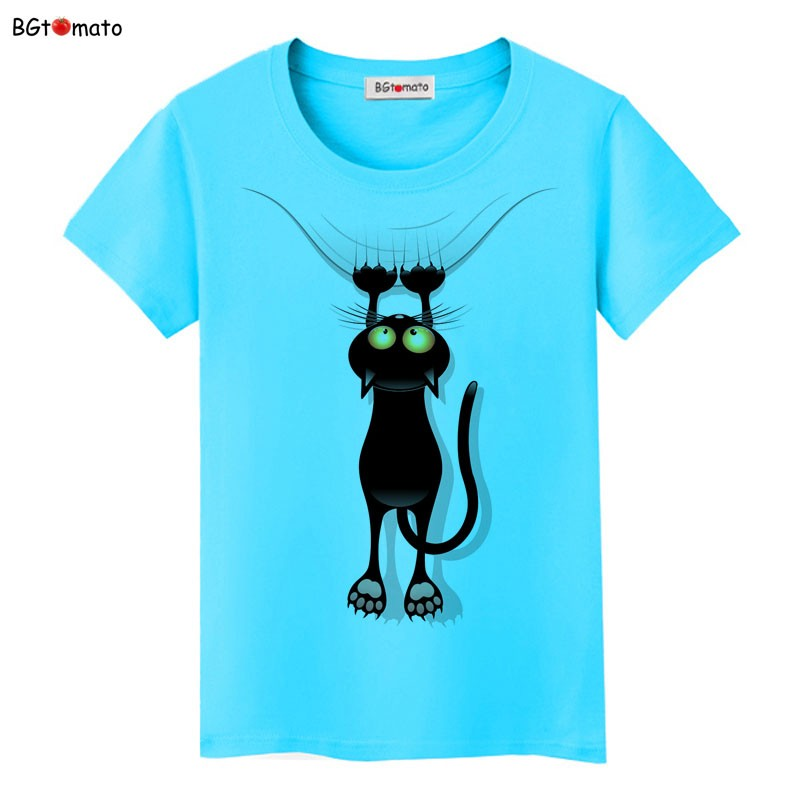 áo phông cổ tròn xanh ngọc mèo 3d