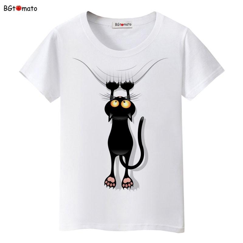 Áo phông cổ tròn trắng mèo