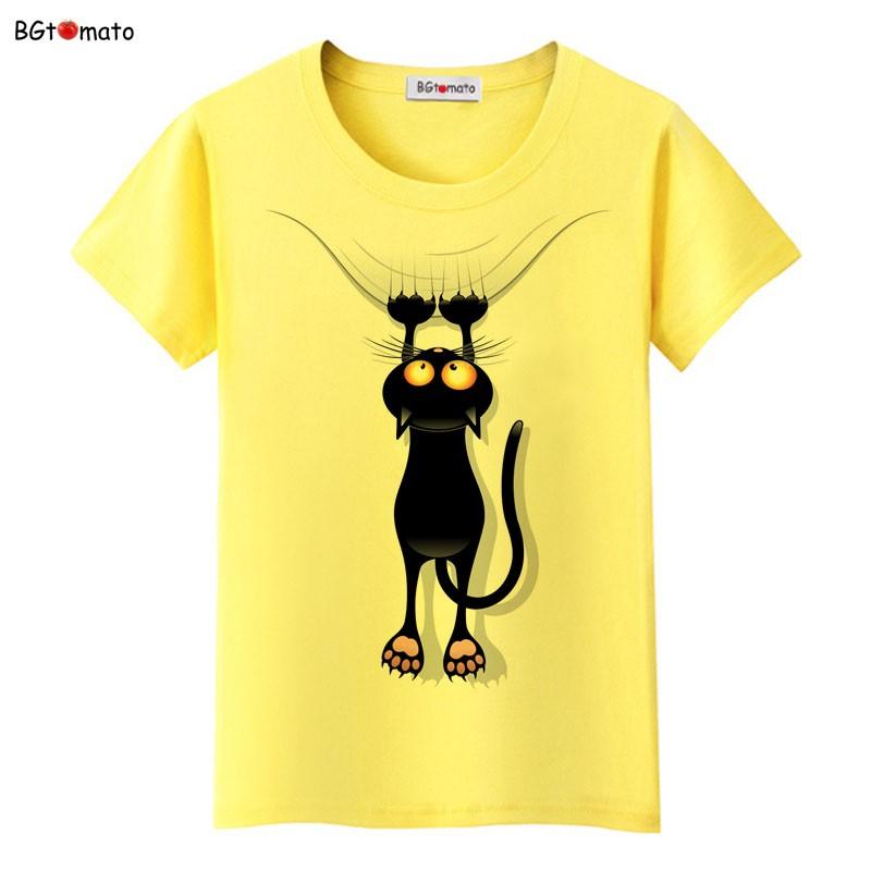 Áo phông cổ tròn vàng mèo