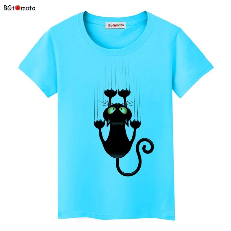 áo phông cổ tròn xanh ngọc mèo trèo cây