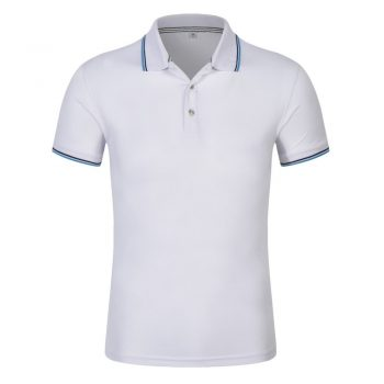 Áo phông đồng phục công ty cổ trụ, mầu trắng phối viền đen xanh