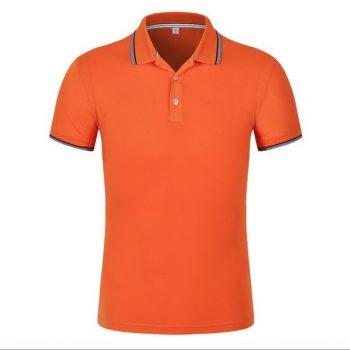 May áo phông đồng phục-mẫu áo phông có cổ mầu cam