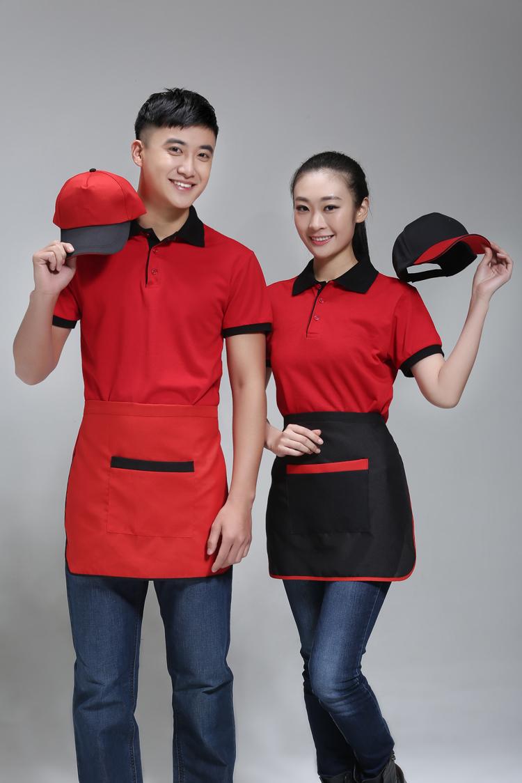 Mẫu áo phông quán cà phê mầu đỏ phối đen