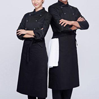 Áo bếp màu đen, may áo đầu bếp đẹp giá rẻ