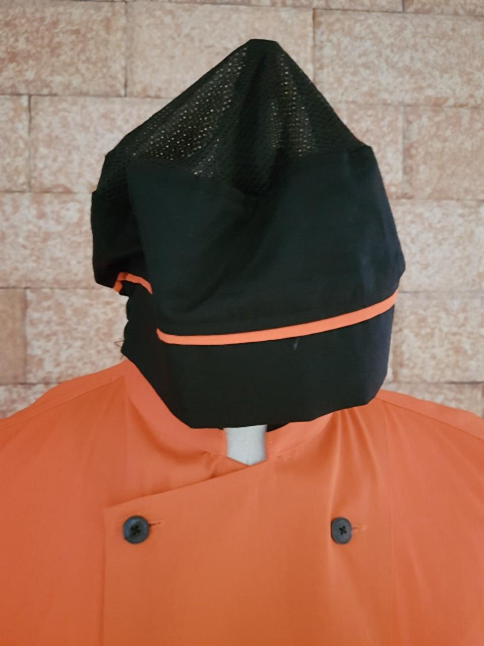 đồng phục đầu bếp có sẵn cam phối đen
