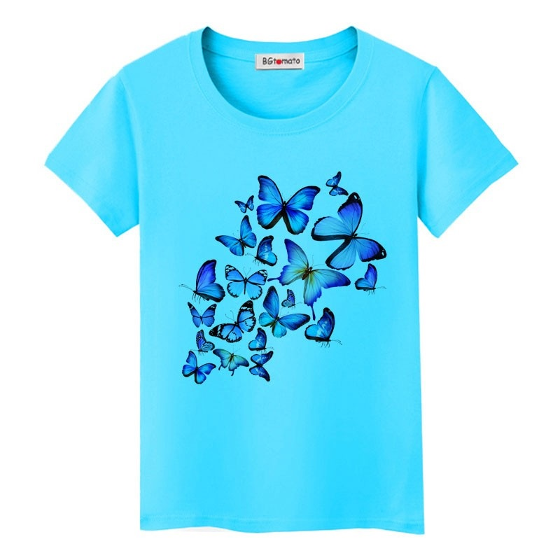 Mẫu áo đồng phục lớp in hình bướm màu xanh ngọc