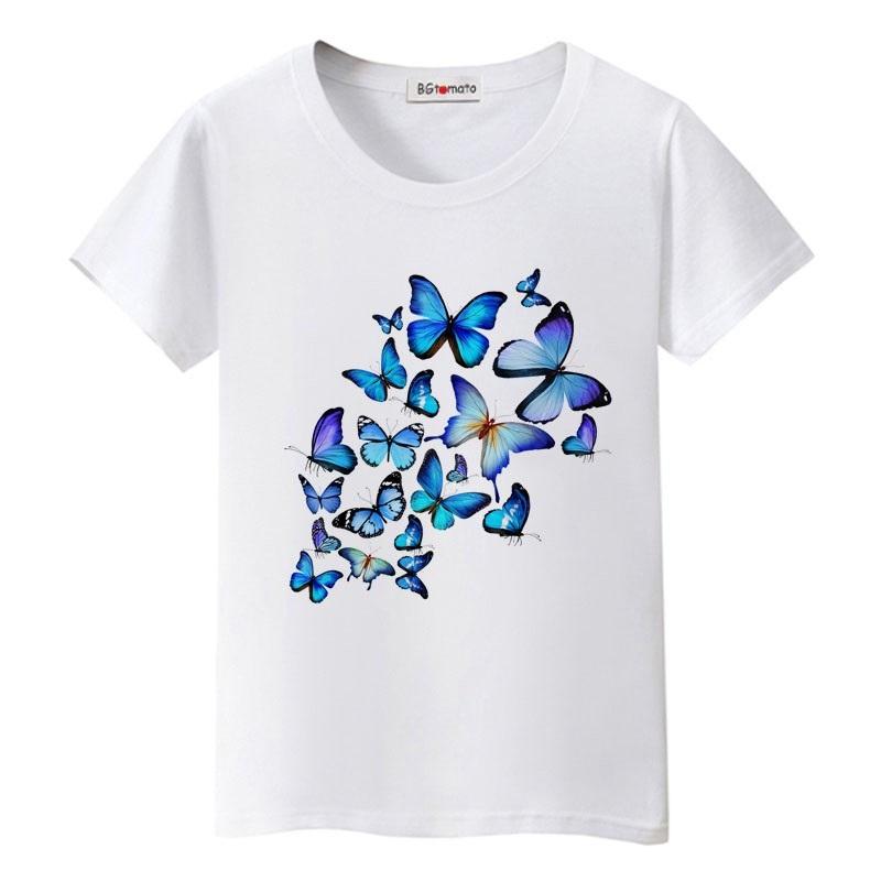 Mẫu áo đồng phục lớp in hình bướm màu trắng
