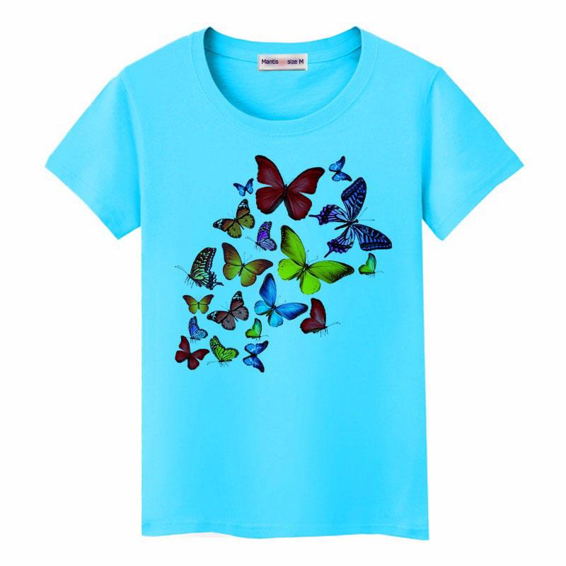 May áo thun đồng phục lớp in hình bướm màu xanh ngọc