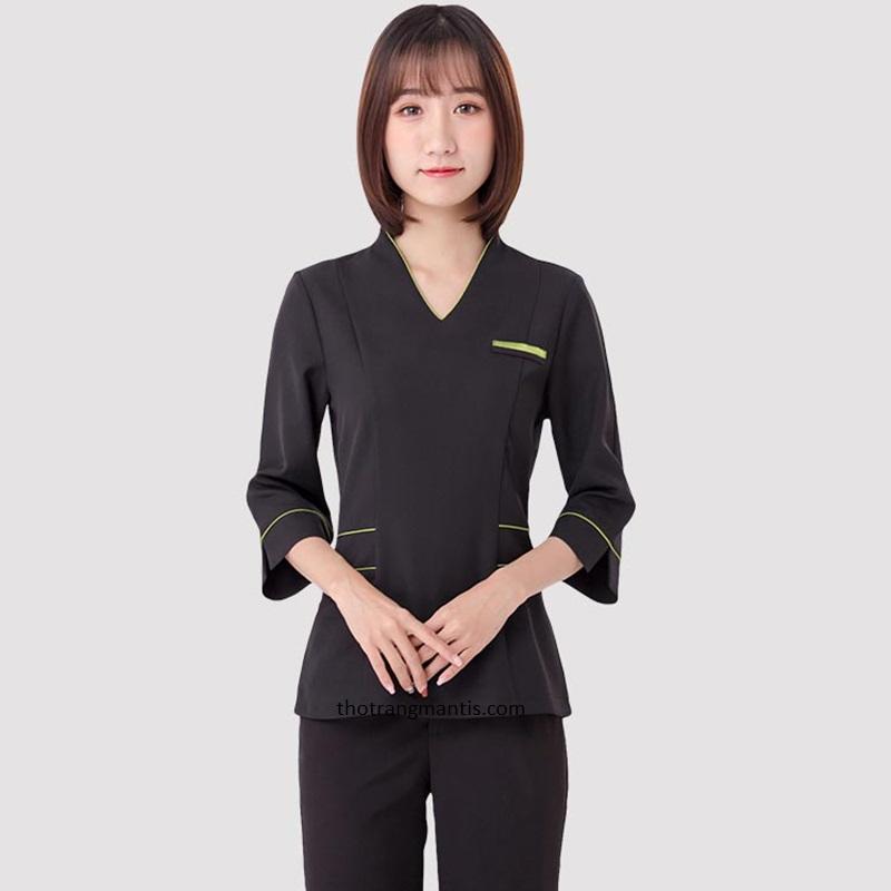 Đồng phục cho nhân viên massage màu đen tay lỡ