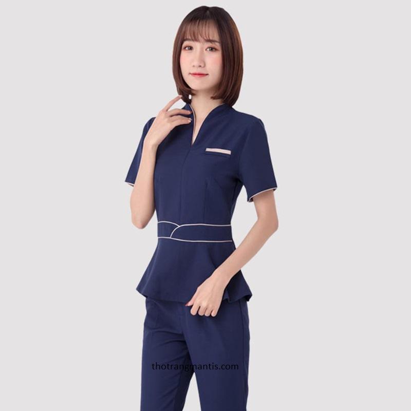 Đồng phục cho nhân viên massage màu xanh tay ngắn