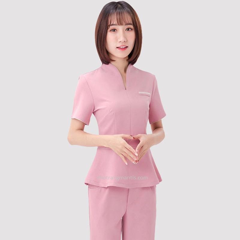 Đồng phục cho nhân viên massage màu hồng tay ngắn