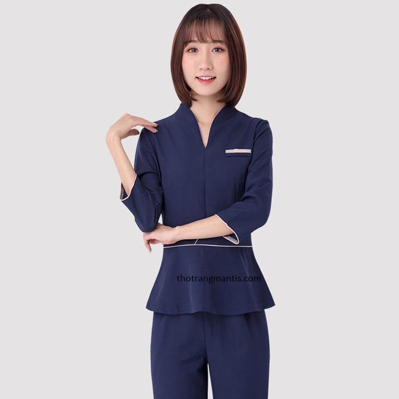 Đồng phục cho nhân viên massage màu xanh tay lỡ