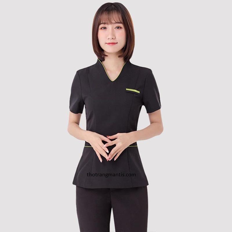 Đồng phục cho nhân viên massage màu đen tay ngắn