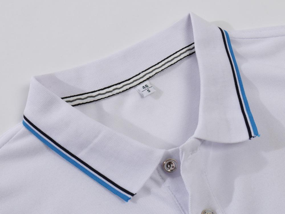 PL130519-áo thun viền cổ vày tay-cổ bo dệt trắng viền đen và xanh