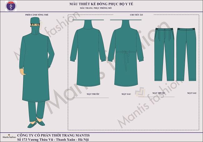 đồng phục phòng mổ áo choàng nam