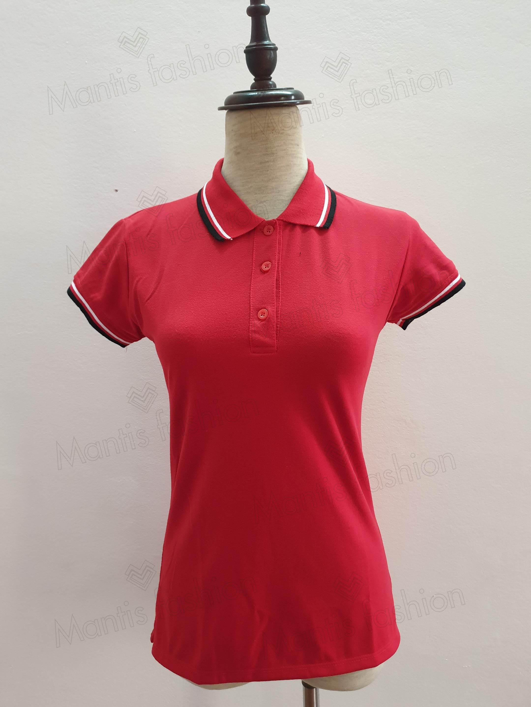bán áo phông nam nữ mầu đỏ phối đen