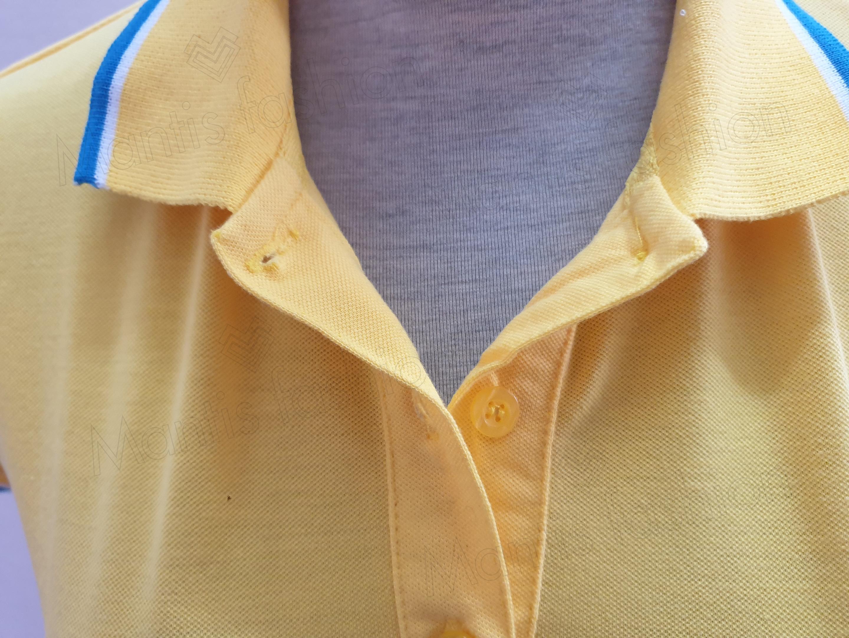 cụm cổ áo được may chắc chắn, nẹp áo được thiết kế dạng nẹp gập rất thời trang
